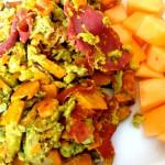 Süßkartoffel-Zucchini-Schinken Rührei